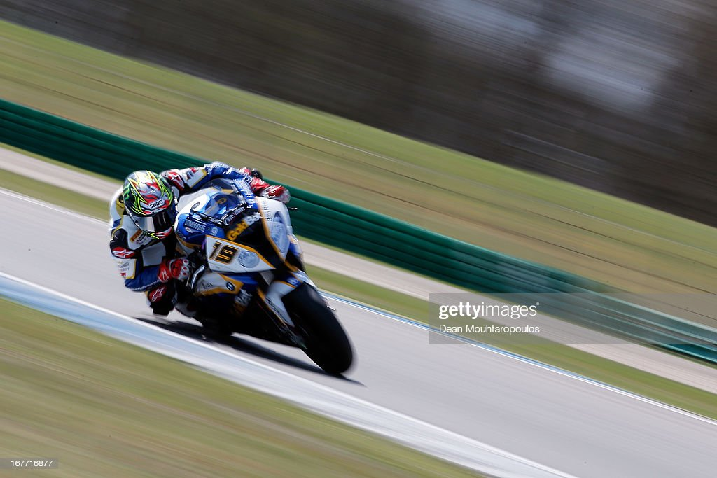 Chaz Davies (#19) of Great Britain on the BMW S1000 RR for BMW Motorrad GoldBet SBK competes during the World Superbikes race 1 at TT Circuit Assen on April 28, 2013 in Assen, Netherlands.