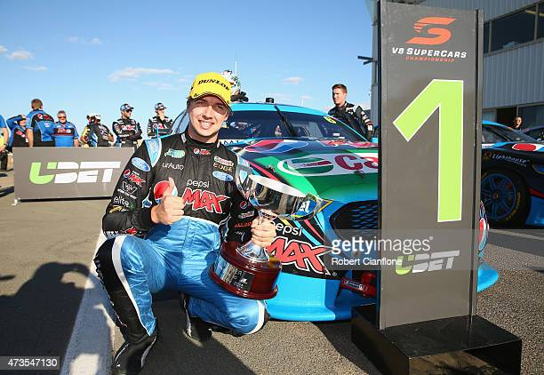 Chaz Mostert driver of the Pepsi Max Crew Ford celebrates after winning Race 10 of the V8 Supercars Winton SuperSprint at Winton Motor Raceway on May...