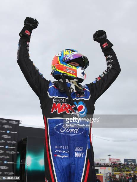 Chaz Mostert driver of the Pepsi Max Crew Ford celebrates after winning race 15 at the Perth 400 which is round five of the V8 Supercar Championship...
