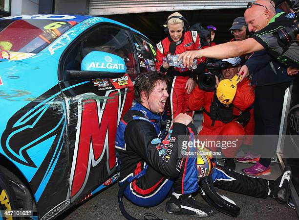 Chaz Mostert driver of the Pepsi Max Crew Ford celebrates after winning the Bathurst 1000 which is round 11 and race 30 of the V8 Supercars...