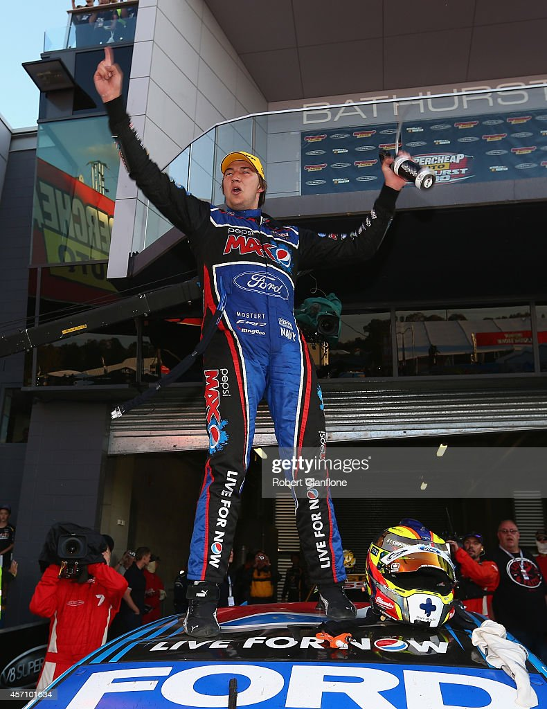 Chaz Mostert driver of the #6 Pepsi Max Crew Ford celebrates after winning the Bathurst 1000, which is round 11 and race 30 of the V8 Supercars Championship Series at Mount Panorama on October 12, 2014 in Bathurst, Australia.