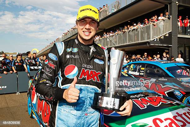 Chaz Mostert driver of the Pepsi Max Crew Ford celebrates victory in race for the V8 Supercars Sydney Motorsport Park Supersprint at Sydney...