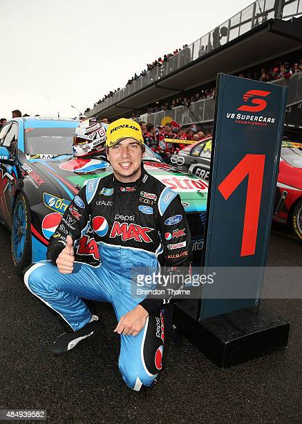 Chaz Mostert driver of the Pepsi Max Crew Ford celebrates victory in race 23 for the V8 Supercars Sydney Motorsport Park Supersprint at Sydney...