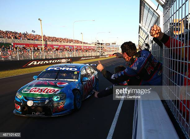 Chaz Mostert driver of the Pepsi Max Crew Ford crosses the line to win the Bathurst 1000 which is round 11 and race 30 of the V8 Supercars...