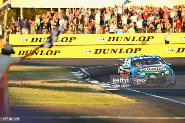 Chaz Mostert driver of the Pepsi Max Crew Ford crosses the line to win during the Bathurst 1000 which is round 11 and race 30 of the V8 Supercars...
