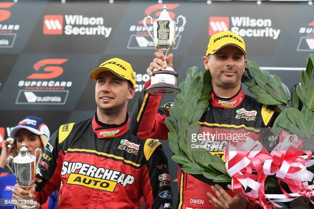 Chaz Mostert driver of the Supercheap Auto Racing Ford Falcon FGX and Steve Owen driver of the Supercheap Auto Racing Ford Falcon FGX celebrate on...