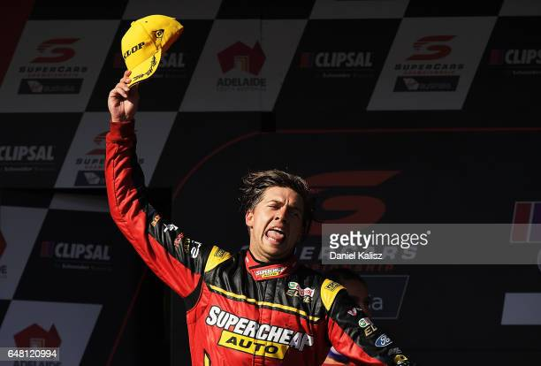 Chaz Mostert driver of the Supercheap Auto Racing Ford Falcon FGX reacts after finishing third during race 2 for the Clipsal 500 which is part of the...