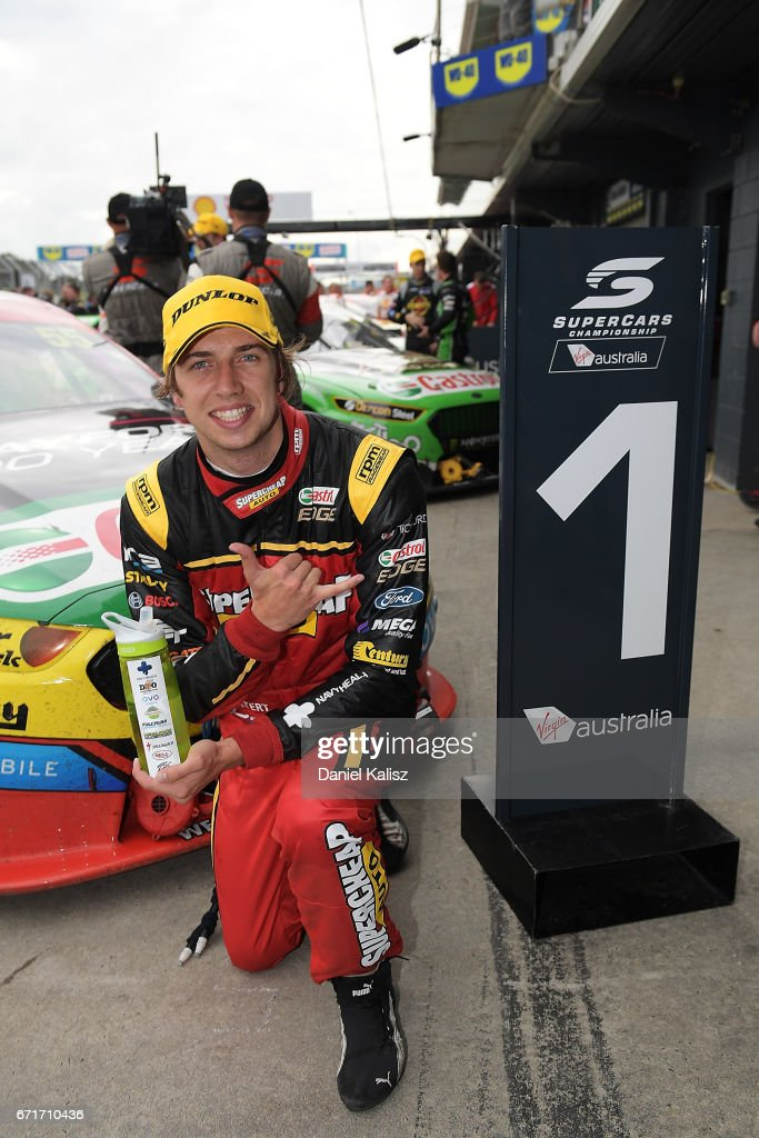 Chaz Mostert driver of the #55 Supercheap Auto Racing Ford Falcon FGX celebrates after winning race 6 for the Phillip Island 500, which is part of the Supercars Championship at Phillip Island Grand Prix Circuit on April 22, 2017 in Phillip Island, Australia.