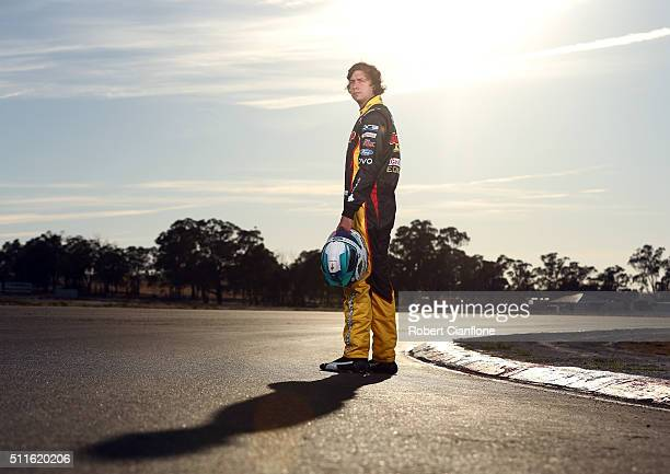 Chaz Mostert driver of the Supercheap Auto Racing Ford poses during a V8 Supercars portrait session on February 22 2016 in Winton Australia