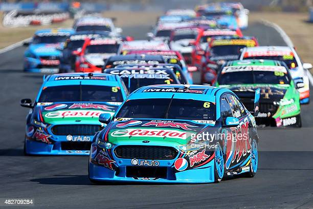 Chaz Mostert drives the Pepsi Max Crew during race 20 at the Ipswich Supersprint on August 2 2015 in Ipswich Australia