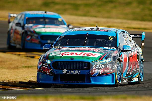 Chaz Mostert drives the Pepsi Max Crew Ford ahead of team mate Mark Winterbottom of the Pepsi Max Crew Ford during race for the V8 Supercars Sydney...