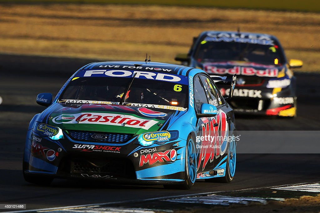 <a gi-track='captionPersonalityLinkClicked' href=/galleries/search?phrase=Chaz+Mostert&family=editorial&specificpeople=11471570 ng-click='$event.stopPropagation()'>Chaz Mostert</a> drives the #6 Pepsi max Crew Ford during race 25 for the Ipswich 400, which is round eight of the V8 Supercar Championship Series at Queensland Raceway on August 3, 2014 in Ipswich, Australia.