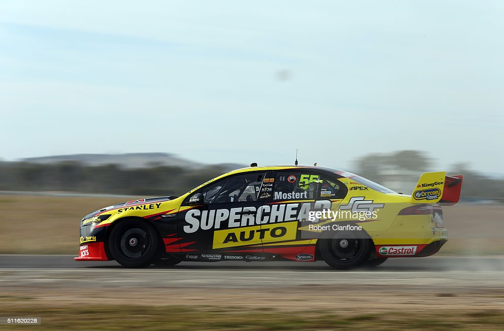 Chaz Mostert drives the Supercheap Auto Racing Ford during a V8 Supercars test day at Winton International Raceway on February 22 2016 in Winton...