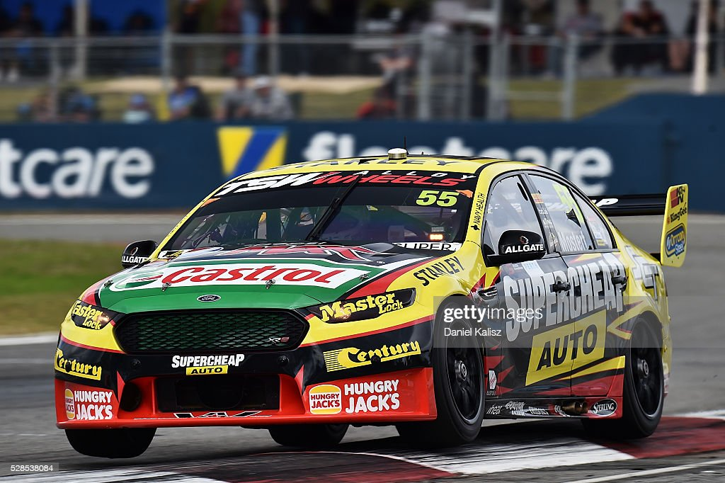 Chaz Mostert drives the #55 Supercheap Auto Racing Ford Falcon FGX during practice for the V8 Supercars Perth SuperSprint at Barbagallo Raceway on May 6, 2016 in Perth, Australia.
