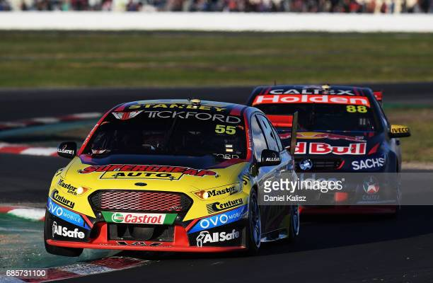 Chaz Mostert drives the Supercheap Auto Racing Ford Falcon FGX during race 9 for the Winton SuperSprint which is part of the Supercars Championship...