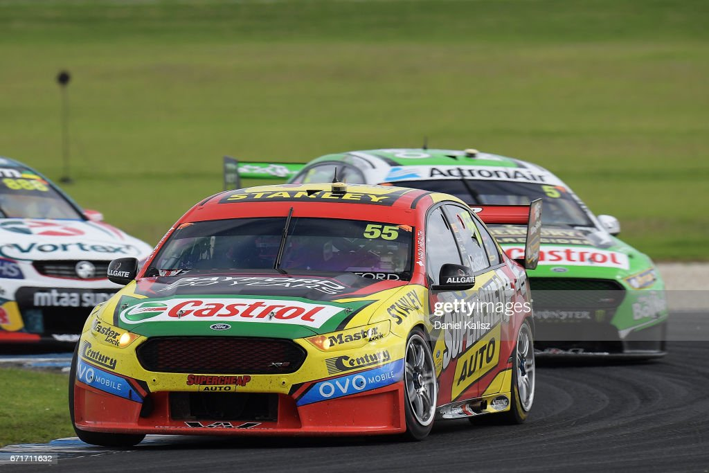 Chaz Mostert drives the #55 Supercheap Auto Racing Ford Falcon FGX leads Mark Winterbottom drives the #5 The Bottle-O Racing Ford Falcon FGX during race 6 for the Phillip Island 500, which is part of the Supercars Championship at Phillip Island Grand Prix Circuit on April 22, 2017 in Phillip Island, Australia.