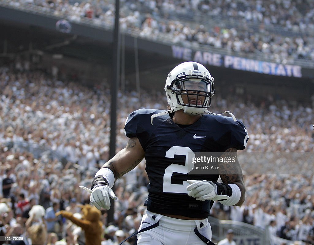 Chaz Powell #2 of the Penn State Nittany Lions celebrates his touchdown against the Indiana State Sycamores during the game on September 3, 2011 at Beaver Stadium in State College, Pennsylvania.
