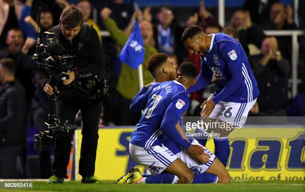 Che Adams of Birmingham celebrates scoring with David Davies during the Sky Bet Championship match between Birmingham City and Cardiff City at St...