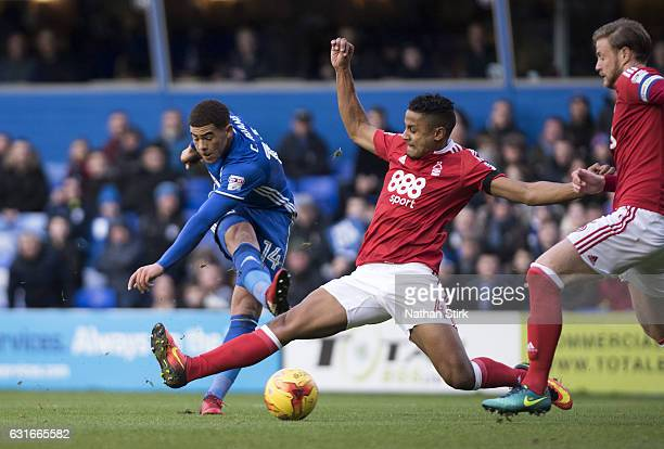Che Adams of Birmingham City and Michael Mancienne of Nottingham Forest in action during the Sky Bet Championship match between Birmingham City and...
