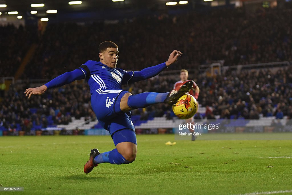 Che Adams of Birmingham City in action during the Sky Bet Championship match between Birmingham City and Nottingham Forest at St Andrews Stadium on January 14, 2017 in Birmingham, England (Photo by Nathan Stirk/Getty Images).