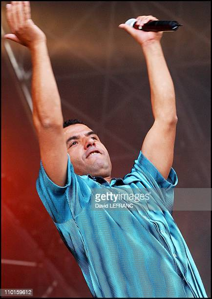 Cheb Mami performs at the 11th 'Vielles Charrues' festival in Carhaix France on July 19 2002