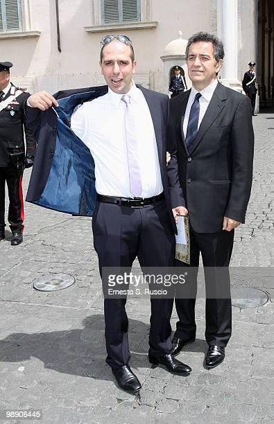 Checco Zalone and Pietro Valzecchi attend the David di Donatello nominations at Quirinale on May 7 2010 in Rome Italy
