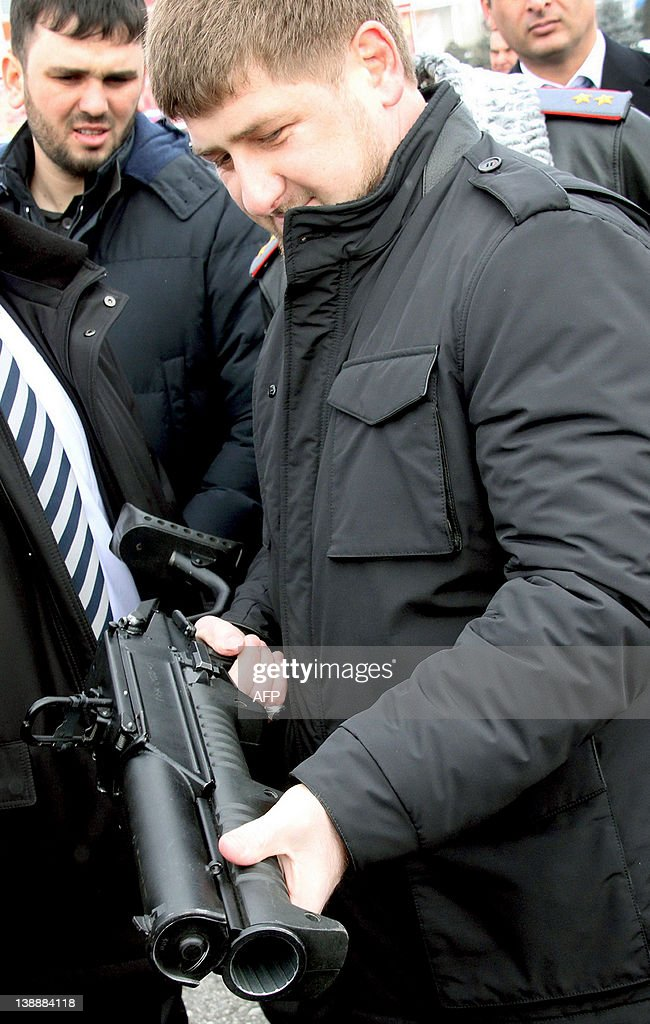 Chechen leader Ramzan Kadyrov holds a GM-94 grenade launcher as he visits a military harrison in the Chechnya's capital Grozny, on February 13, 2012. The Kremlin fought two wars against separatists in Chechnya after the fall of the Soviet Union but the rebellion then became more Islamist in tone and also spread to neighbouring Ingushetia and Dagestan.