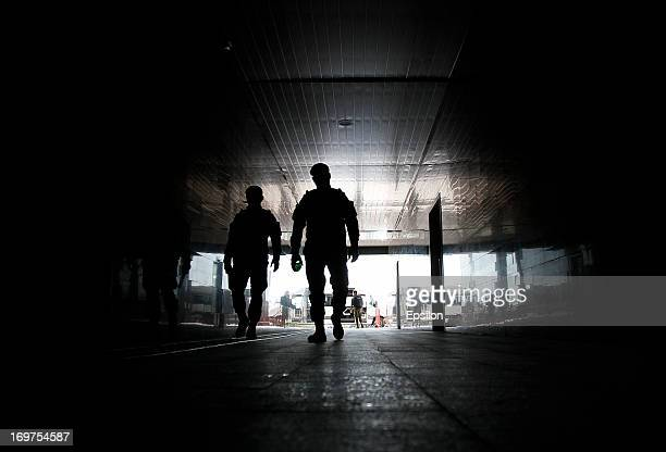 Chechen police patrol the stadium before the start of the Russian Cup Final match between FC Anji Makhachkala and PFC CSKA Moscow at the AkhmatArena...