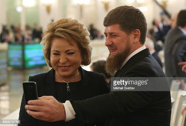 Chechen President Ramzan Kadyrov and Council of the Federation Speaker Valentina Matviyenko take a selfie in the Hall of the Order of St George...