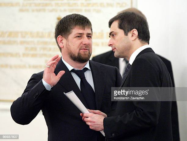 Chechen President Ramzan Kadyrov and Presidential Administration Deputy Chief Vladislav Surkov takes part in a State Council session discussing...