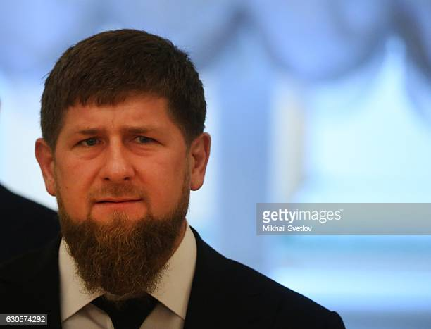 Chechen President Ramzan Kadyrov arrives in the Hall of the Order of St George during the State Council on ecology meeting on December 2016 in Moscow...