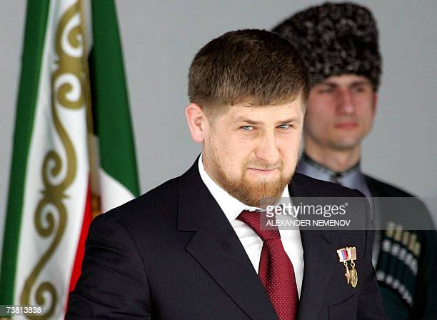 Chechen President Ramzan Kadyrov attends a ceremony in Gudermes 05 April 2007 celebrating his neartotal control of the southern Russian province...