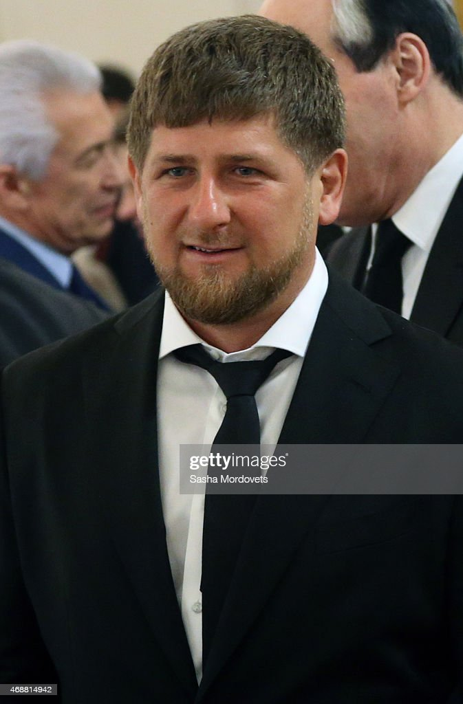 Chechen President <a gi-track='captionPersonalityLinkClicked' href=/galleries/search?phrase=Ramzan+Kadyrov&family=editorial&specificpeople=571490 ng-click='$event.stopPropagation()'>Ramzan Kadyrov</a> attends a meeting of State Council in the Grand Kremlin Palace on April 7, 2015 in Moscow, Russia.