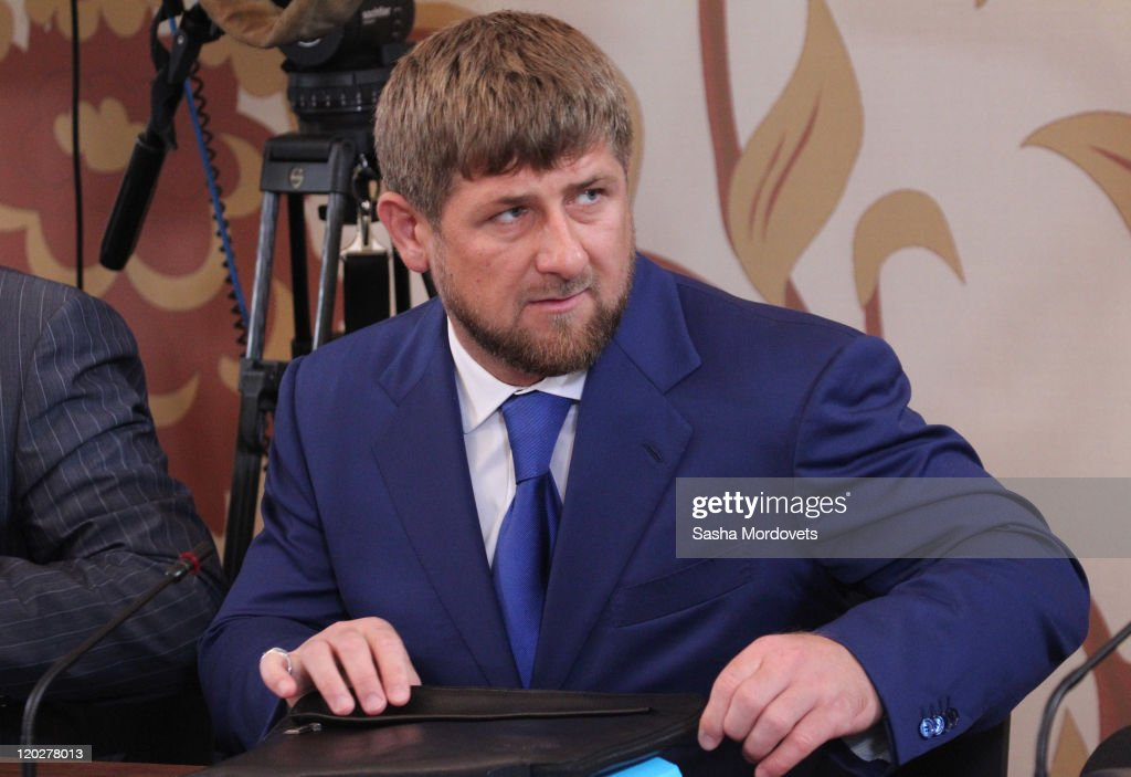 Chechen President <a gi-track='captionPersonalityLinkClicked' href=/galleries/search?phrase=Ramzan+Kadyrov&family=editorial&specificpeople=571490 ng-click='$event.stopPropagation()'>Ramzan Kadyrov</a> attends a meeting with local ministers, governors and other officials from the North Caucasus region on August 03, 2011 in Kislovodsk, Russia. Prime Minister Vladimir Putin chaired a meeting of the Government Commission on the socio-economic development of the North Caucasus federal district .