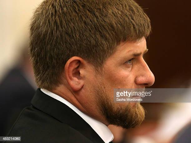 Chechen President Ramzan Kadyrov attends a session of State Council with Russian President Vladimir Putin August 5 2014 in Voronezh Russia Putin is...