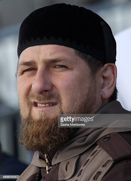 Chechen President Ramzan Kadyrov attends an opening ceremony for the newly restored Moscow Cathedral Mosque on September 23 2015 in Moscow Russia