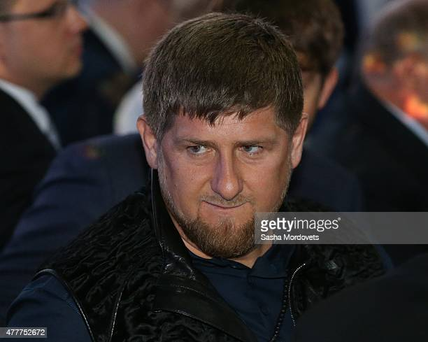 Chechen President Ramzan Kadyrov attends the plenary session of the St Petersburg Economic Forum in June 19 2015 in Saint Petersburg Russia Russian...