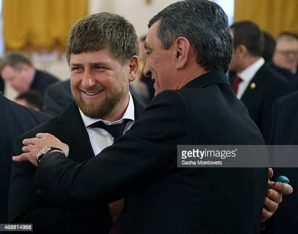 Chechen President Ramzan Kadyrov greets Mayor of Sevastopol Sergei Menyailo during a meeting of State Council in the Grand Kremlin Palace on April 7...