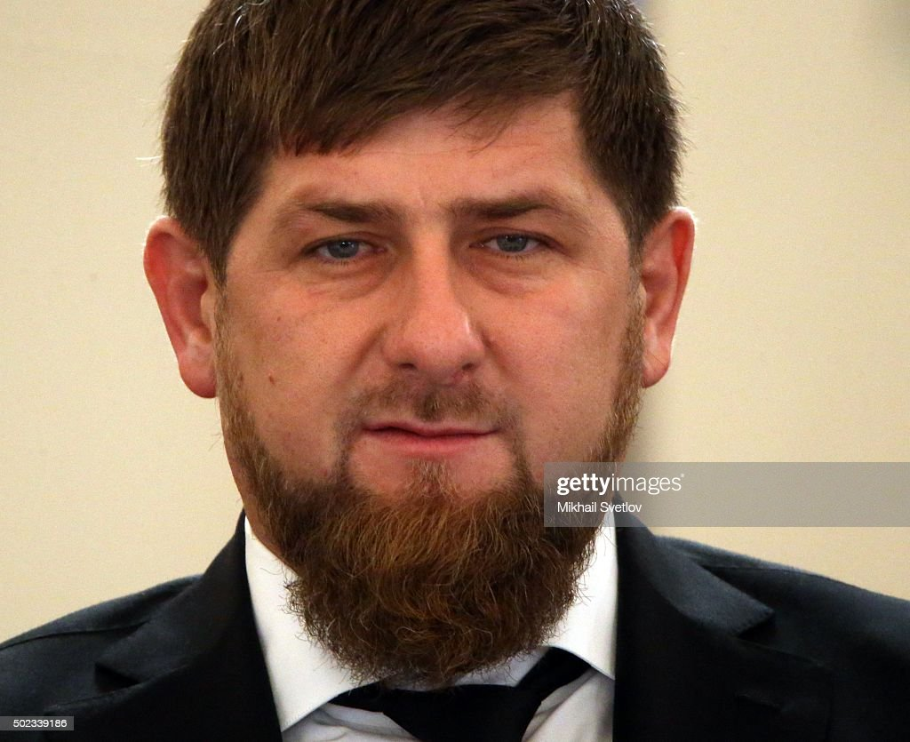 Chechen President <a gi-track='captionPersonalityLinkClicked' href=/galleries/search?phrase=Ramzan+Kadyrov&family=editorial&specificpeople=571490 ng-click='$event.stopPropagation()'>Ramzan Kadyrov</a> seen during the State Council meeting in Grand Kremlin Palace, on December 23, 2015 in Moscow, Russia.