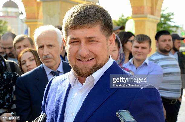 Chechen Republic President Ramzan Kadyrov speaks to media reporters during the Grozny City commercial complex opening ceremony on October 5 2011 in...