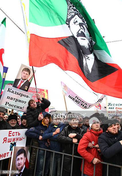 Chechens gather as they take part in a rally in central Grozny on January 22 2016 Tens of thousands of people on Friday flooded into the streets of...