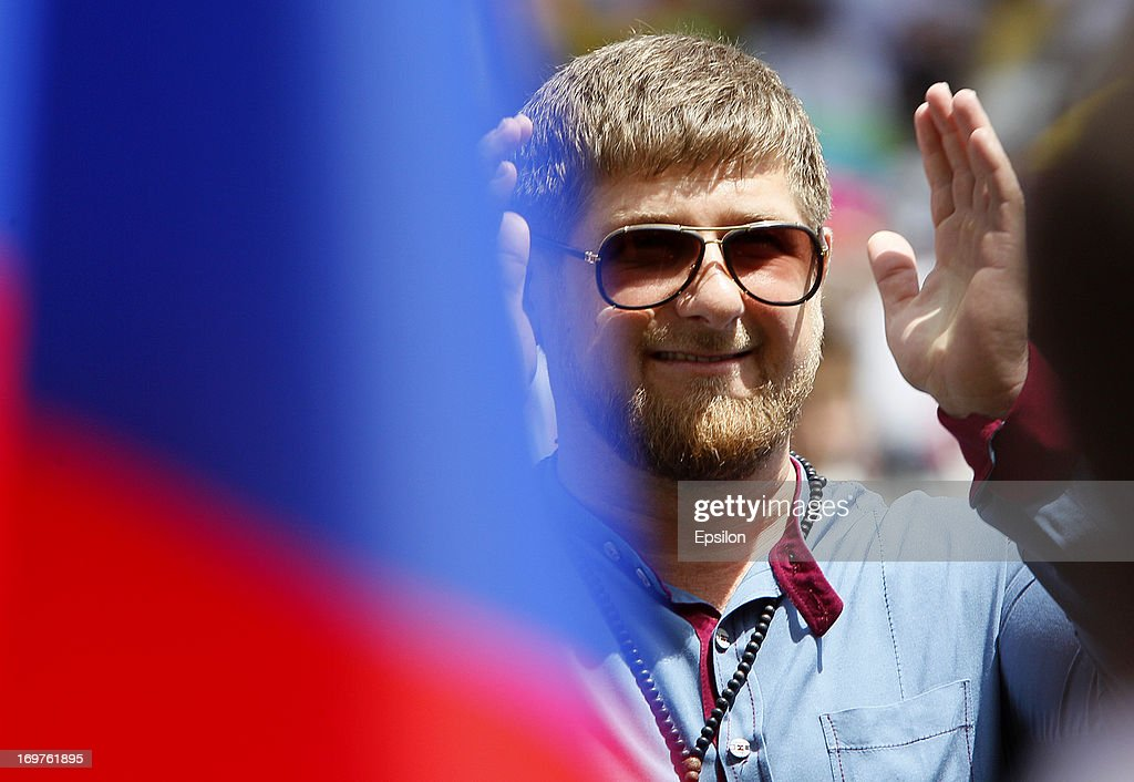 Chechnya's President <a gi-track='captionPersonalityLinkClicked' href=/galleries/search?phrase=Ramzan+Kadyrov&family=editorial&specificpeople=571490 ng-click='$event.stopPropagation()'>Ramzan Kadyrov</a> looks on during the Russian Cup Final match between FC Anji Makhachkala and PFC CSKA Moscow at the Akhmat-Arena Stadium on June 01, 2013 in Grozny, Russia.