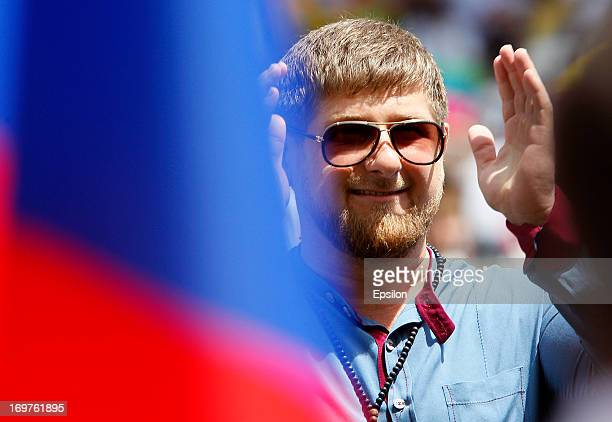 Chechnya's President Ramzan Kadyrov looks on during the Russian Cup Final match between FC Anji Makhachkala and PFC CSKA Moscow at the AkhmatArena...