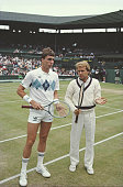 Chechoslovak tennis player Ivan Lendl pictured left with American tennis player Trey Waltke before their second round match in the Men's Singles...