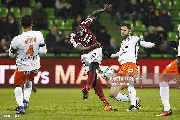 Check Diabate of Metz and Mathieu Deplagne of Montpellier during the French Ligue 1 match between Metz and Montpellier at Stade SaintSymphorien on...