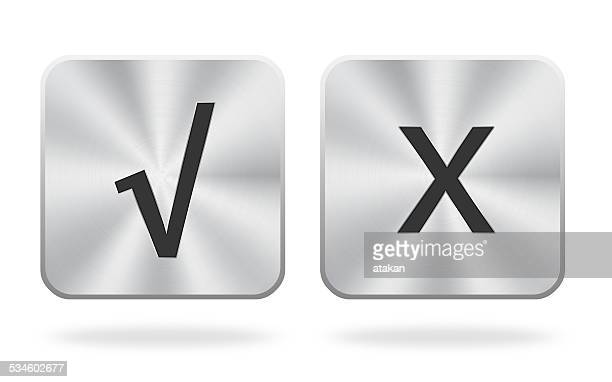 Check marks and X Icon With Metal Texture