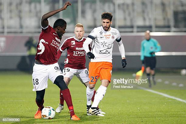 Check tidiane Diabate of Metz and Florent Mollet of Metz and Mathieu Deplagne of Montpellier during the French Ligue 1 match between Metz and...