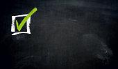 Checkbox chalkboard concept background.