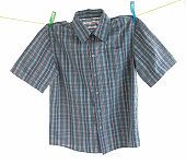 Checked shirt pegged to a line