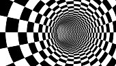 Checker abstract speed motion in highway tunnel for technology pattern texture background ,fast moving toward the light, 3d illusion black and white illustration